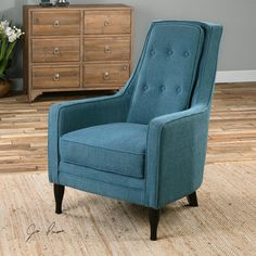 Uttermost Katana Peacock Blue Armchair | Peacock Blue Accent Chair With Ebony-stained, Curvy Legs, Welted Track Arms, Loose Box Cushion Seat, And Tall, Supportive, Button-tufted Back.<br><br>Dimensions (inches): 35.5D, 28.5W, 40.5H.
