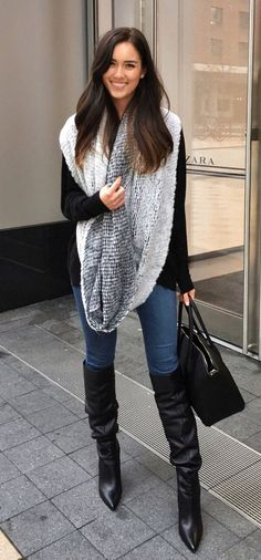 #fall #outfits women's gray scarf. Click To Shop This Look.