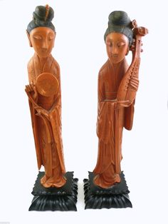 Pair RARE Vintage 1930s 40s Hand Carved Bakelite Chinese Courtesan Sculptures