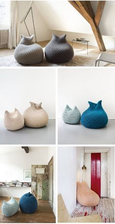knit beanbag chairs | craft-corner.org ...  these beanbag chairs are adorable, but I'll be darned if I can find any directions for anything at craft-corner.org!