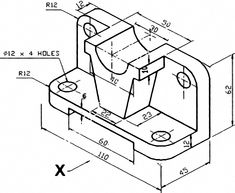 Models like this are common homework assignments for CAD students. Let's learn some skills to convert an isometric drawing into a model. SOLIDWORKS is used, but these skills apply to any CAD program. 3d Sketch Drawing, Modern Drawing, Geometric Drawing, Cad Drawing, Drawing Skills, Mechanical Engineering Design, Paper Engineering, Mechanical Design, Isometric Drawing Exercises
