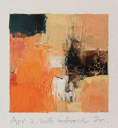 02 de abril de 2015 mat de pintura - Original pintura al óleo abstracta - 9 x 9 (9 x 9 cm - aprox. 4 x 4 pulgadas) con 8 x 10 pulgadas