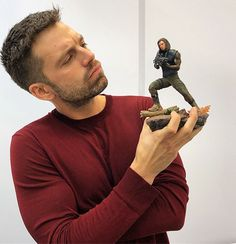 Sebastian Stan with his Bucky BDS Art Scale from the Avengers Infinity War Bucky Barnes, Ben Barnes, Sebastian Stan, Tom Hiddleston, Benedict Cumberbatch, Winter Soldier Bucky, Man Thing Marvel, Marvel Actors, Marvel Avengers