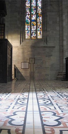 Extension of the meridian line on the north wall - sundial with the Zodiac signs in Milan Cathedral, La Meridiana. Our post about the history and peculiarities of the sundial: http://www.chartofthemoment/history-and-art/sundial-of-the-milan-cathedral/