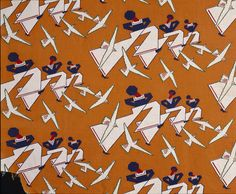 This dress fabric called 'Matelot' was manufactured by the Calico Printers' Association (Manchester) in 1934.