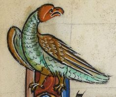 """Detail from """"The Rutland Psalter"""", medieval British Library Add MS f Medieval Dragon, Medieval Art, Drawing Sketches, Drawings, British Library, Western Art, Christian Art, Middle Ages, Natural History"""