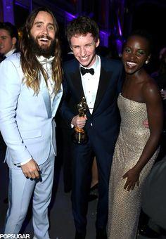 Jared Leto, Eddie Redmayne and Lupita Nyong'o hang out at Vanity Fair's Oscar bash.