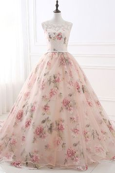 Pink tulle floral long lace appliques evening dress, formal halter prom dress