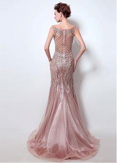 In Stock Brilliant Tulle Scoop Neckline Mermaid Evening Dresses With Beadings