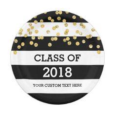 Black Stripes Gold Dots Class of 2018 Graduation Paper Plate  $1.70  by DreamingMindCards  - cyo customize personalize unique diy idea