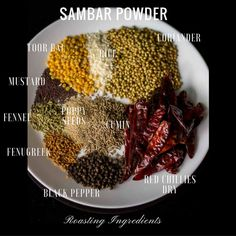 South Indian Sambar Powder Recipe - Homemade Sambar Powder -Tamil Style Sambar Powder preparation Recipe with tamil style ingredients. Veg Recipes, Indian Food Recipes, Vegetarian Recipes, Cooking Recipes, Smoker Recipes, Milk Recipes, Cooking Tips, Garam Masala Powder Recipe, Masala Recipe