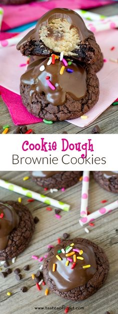 Cookie Dough Brownie Cookies >> by Tastes of Lizzy T's. Rich, fudgy brownie cookies are made special by a classic cookie dough center. Topped with chocolate, these are a decadent treat for cookie lovers of any age.