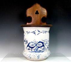 Vintage Blue Onion Stoneware Salt Crock Wood Lid Back Box White Pottery Antique | eBay