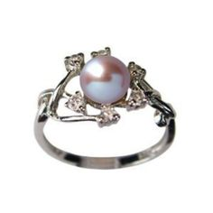 Amazon.com: Entwining Vine Cultured Pearl Cubic Zirconia Ring in Platinum Overlay CAREFREE Sterling Silver, Lavender Size 8 (Size 5, 6, 7, 8, 9): Dahlia: Jewelry $43.45