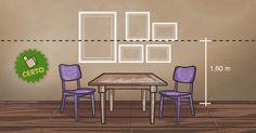 Os quadros estão organizados considerando a altura de 1,60 m e alinhados pelo eixo central do quadro maior que compõe o grupo