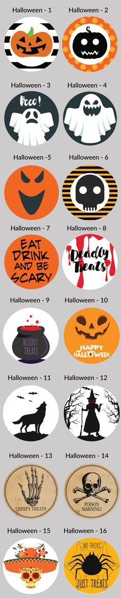 Halloween Party Circle Label Stickers for Party Favors & Invitations (Pre-Set Designed) from PaperLanternStore