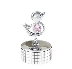 Duckling Mirrored Mini Music Box - You Are My Sunshine  -  Talk about a cutie! This little quacker poses proudly atop a gleaming chrome and mirrored music box. Isn't she adorable with her pink Swarovski crystal? Give her a name! Great gift to kids, grand kids and ''kids'' of all ages.