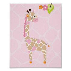 Safari Jungle Animal Giraffe Nursery Wall Print