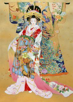 Japanese Geisha Kogane by Haruyo Morita Japanese Artwork, Japanese Painting, Japanese Prints, Chinese Painting, Chinese Art, Chinese Prints, Japanese Kimono, Japanese Theme, Traditional Japanese Art