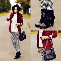 Houndstooth leggings and a red jacket