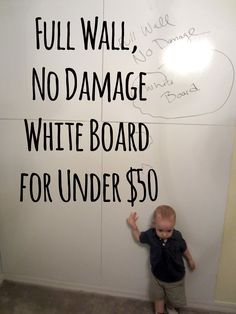 """""""Thrifty white board panel"""" name of white board panel from Home Depot ($12/panel) then use command stickies to put it up on the wall.... These panels can be painted for magnetic walls too."""