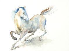 White Horse Watercolor Painting - 9x12 Fine Art Original Painting. $38.00, via Etsy.