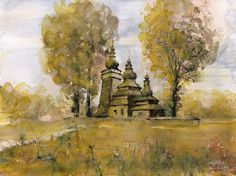Orthodox church in Skwirtne. Watercolor. Author: Witold Kubicha