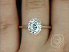 Rosados Box Celeste 8x6mm Rose Gold Oval FB Moissanite and Diamond Pave Halo Engagement Ring anillos de compromiso | alianzas de boda | anillos de compromiso baratos http://amzn.to/297uk4t