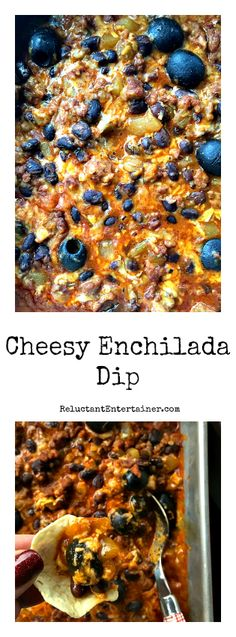 Game Day Cheesy Enchilada Dip at ReluctantEntertainer com Recipes Appetizers And Snacks, Yummy Appetizers, Dip Recipes, Appetizers For Party, Mexican Food Recipes, Snack Recipes, Cooking Recipes, Cheesy Enchiladas, Appetizers