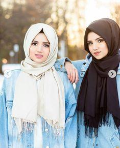 Bff Modern Hijab Fashion, Hijab Fashion Inspiration, Muslim Fashion, Modest Fashion, Fashion Outfits, Muslim Girls, Muslim Women, Hijab Turban Style, How To Wear Hijab