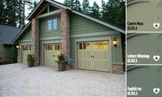 These types of garage doors look amazing. I wonder if it would still look good on my double garage instead of triple. I will have to consider these when I replace my garage. Garage Door Design, Garage Door Repair, Car Garage, Dream Garage, Garage Room, Garage Studio, Garage Attic, House Paint Exterior, Exterior Paint Colors
