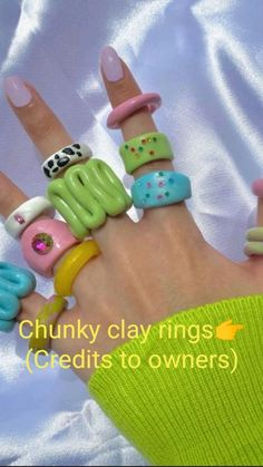 Polymer Clay Ring, Polymer Clay Crafts, Diy Crafts Jewelry, Fun Diy Crafts, Diy Clay Rings, Biscuit, Clay Art Projects, Accesorios Casual, Cute Clay