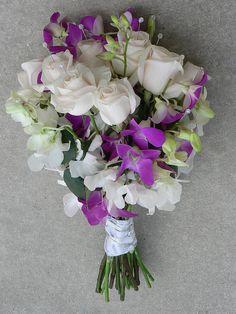 White Rose w/ white & purple orchid Bouquet