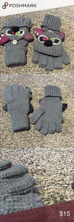 Adorable Fingerless Gloves Faces button into place and unbutton to fold over fingers and turn into mittens. Super cute gift from a family member but not my style. I already look young.  No rips or stains. One piece of yarn sticks out, pictured. Accessories Gloves & Mittens