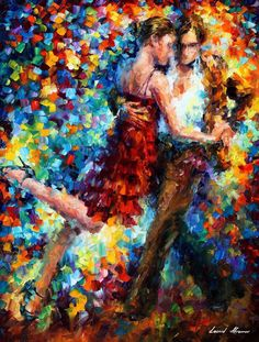 Tango of Triumph - Palette Knife Oil Painting On Canvas By Leonid Afremov - Knife Painting, Oil Painting On Canvas, Painting Art, Couple Painting, Art Sur Toile, Palette Knife, Original Paintings, Original Art, Art Gallery