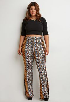 Plus Size Ornate Floral Flared Pants