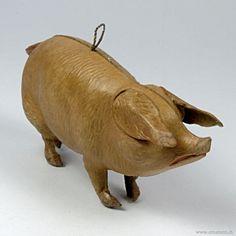Dresden molded cardboard pig ornament ca.1900