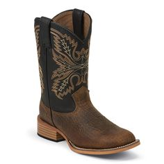 Justin Kid's Bent Rail Square Toe Western Boots