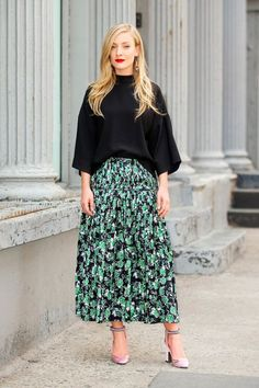 """Kate Foley, US Fashion Director at Vestiaire Collective - """"My work—actually, my life—uniform pretty much always consists of a mid-calf length skirt, usually in a beautiful print, with a black top or t-shirt. Sometimes I switch it upand wear a printed top and a plain skirt, but I always wear at least one printed piece—it always cheers me up!Comfort is the most important element of an outfit for me. It's impossible to manage a packed schedule when you're not feeling your best. I switch…"""