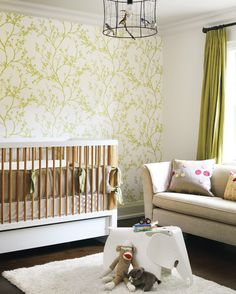 Nursery - Green and Natural. That wallpaper is so pretty... like light through leaves!