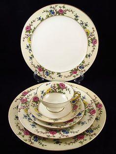 RS Tillowitz -Verano -36-Pc Porcelain Enameled China Dish Set - Art Deco Nouveau