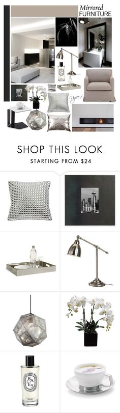 """""""Mirrored Furniture"""" by mymummadeit ❤ liked on Polyvore featuring interior, interiors, interior design, home, home decor, interior decorating, Zara Home, Zuo, Tom Dixon and Diptyque"""