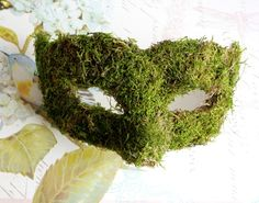 winter masquerade -- woodland fairy mask -- Woodland Queen Moss Venetian Masquerade Mask MADE TO ORDER Venetian Masquerade Masks, Masquerade Party, Mens Masquerade Mask, Masquerade Costumes, Casa Halloween, Costume Carnaval, Wood Nymphs, Deco Floral, Masks Art