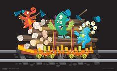 Train postcard illustration. I like drawing monsters.