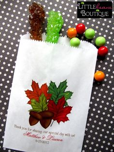 Wedding Candy Bags Fall Leaves Acorn Favor by LittlebeaneBoutique, $19.75