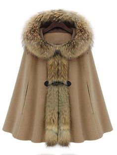 Camel Fur Hooded Cape Coat