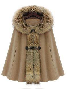 Camel Fur Hooded Buckle Ruffles Cape Coat