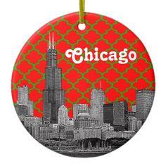Chicago Skyline Etch Green Red Quatrefoil BG Xmas Christmas Tree Ornaments