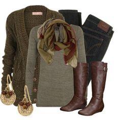 dark and warm winter clothing.
