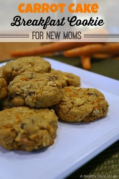 Carrot Cake Lactation Breakfast Cookies for New Moms - Lactation recipes breastfeeding - Lactation Cookies Baby Food Recipes, Cookie Recipes, Water Recipes, Sweet Recipes, Yummy Recipes, Baking Recipes, Recipies, Healthy Slice, Biscuits